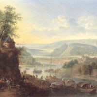 Griffier Robert Rheinish Landscape With Barges Unloading And Peasant Dancing On A Track