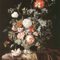 Michiel Louis A Still Life Of Roses Poppies Carnations Convovulus And Marigolds In A Silver Vase