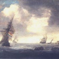 Porcelis Jan Ships At Sea On A Rough Day