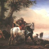 Wouwermann Philips Huntsman With A Lad Saddling His Horse And A Peasant Family Resting